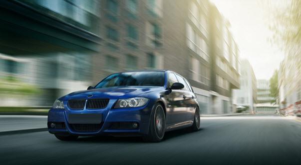 Blue BMW E90