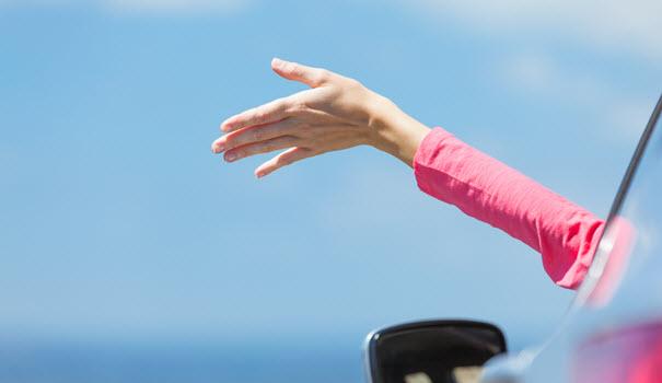 Lady Hand Outside BMW Window